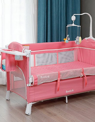 Stainless Steel Baby Crib for 0-6 Years Old Kids Bed Cradle for Baby Beside Beds